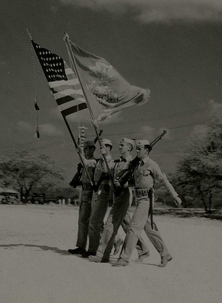 Marine color guard. Image © The National WWII Museum